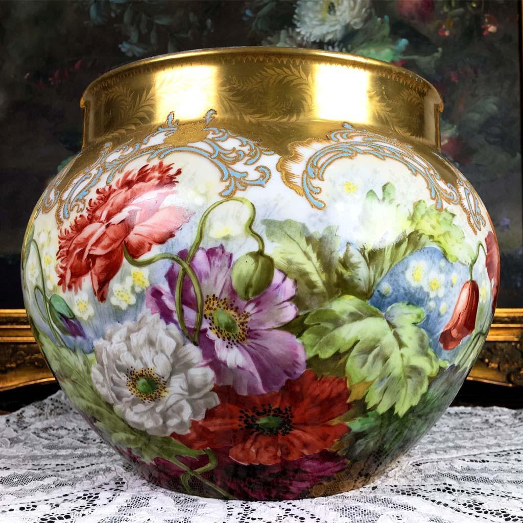 Large Limoges France Hand Painted Jardiniere With Colorful Flowers From Rive Gauche Antiques On