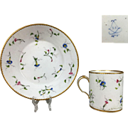 1787 Antique French SEVRES Porcelain hand-painted Cup and Saucer