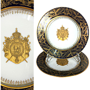 1805- 1814 Rare Pair of French SEVRES Porcelain chargers with Napoleon Armorial, gold gilt & cobalt blue