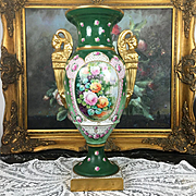 "18"" tall Limoges France hand-painted vase with golden figural of Sphinx handle. 1930s - 1950s"