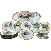 French Limoges Porcelain Hand-painted Fish Serving Set of 14 pieces, 1 tray, 1 Sauce boat & 12 chargers, 1900-1932