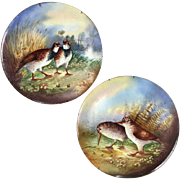 "18"" large Pair of Limoges France Tray/ Wall Plaque with hand painted birds, artist signed, ca 1892-1907"