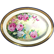 "16'' large Haviland Limoges France hand-painted cobalt blue tray/ plaque, signed ""Alog"", 1894 to 1931"