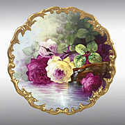 "13.6"" Limoges France hand-painted charger with the roses, after 1891"