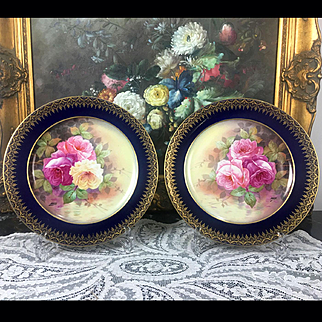 """Pair of Limoges France hand-painted cobalt blue chargers/ plates, artist signed """"Norys"""", after 1894- 1930s"""