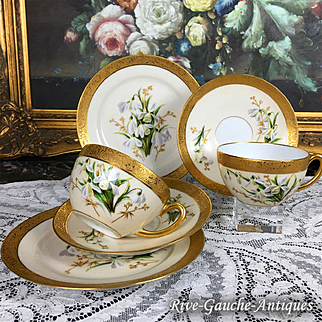 pair of Limoges France hand-painted cups & saucers & desert plates, 6 pieces, raised golden gilt, after 1891 to early 1900s