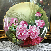 "12.6"" large Limoges France hand-painted rose charger, signed and dated 1906"