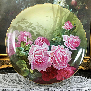 """12.6"""" large Limoges France hand-painted rose charger, signed and dated 1906"""