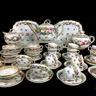 45 pieces French hand-painted flowers Old Paris porcelain Tea & coffee Set in Sevres style, late 19th century