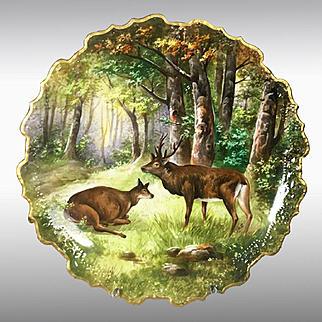"""15.35"""" large Limoges France hand-painted Tray/ Wall Plaque, artist signed, ca 1890s-1920s"""