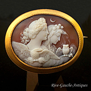 Superb Large Museum Quality 14kt Shell Cameo of Day (Dawn) and Night, century 19th