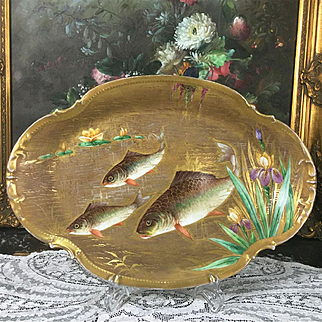 """16"""" long Limoges France hand-painted fish tray/ plat with raised gold gilt, 1922-1938"""