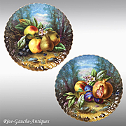 """pair of 13.6'' Large Limoges France chargers/ plates with the hand-painted fruits, artist signed """"Ch. Thuillier"""", 1900s- 1920s"""