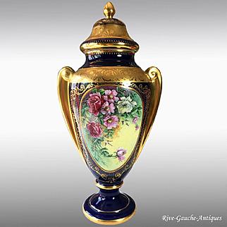 19'' tall Limoges France cobalt blue hand-painted vase, artist signed, heavy gold gilt,