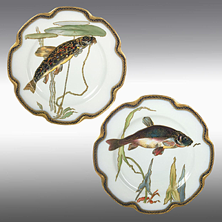 Rare pair of Limoges Haviland France hand-painted fish chargers/ plates, 1889-1931
