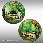 """1876-1886 Pair of 15.75"""" large Limoges Haviland France Hand-painted Tray/ Wall Plaque with hunting scene"""