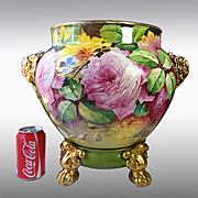 """14"""" tall Huge Limoges France hand-painted rose Jardiniere/planter, elephant head handles on separate base with claw feet, artist signed """"P. Martial """", 1890-1932"""