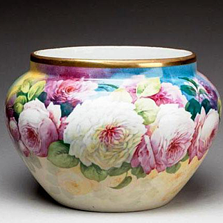 """Limoges France hand-painted jardiniere with colorful roses, artist signed """"F. DARTIGEAS"""", W. G. &Co. 1900-1932"""