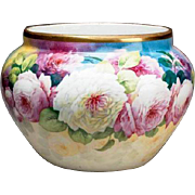 "Limoges France hand-painted jardiniere with colorful roses, artist signed ""F. DARTIGEAS"", W. G. &Co. 1900-1932"