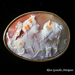 Superb 9kt gold large Museum Quality Victorian Shell Cameo of Day (Dawn) and Night