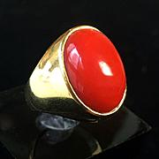 18k gold 10g Large Oxblood Red Natural Coral Ring