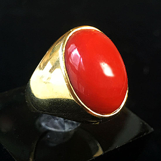 18k gold 10g Large Oxblood Red Natural Coral Ring