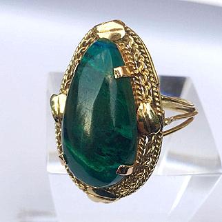 14k gold Pear Shaped Malachite Ring size 6.5