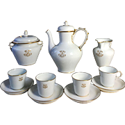 1884-1888 Antique SEVRES porcelain Tea/ Coffee Set of 11-pieces in White & Gold