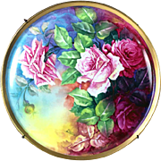 "13.6"" large Limoges France hand-painted rose charger & wooden frame, artist signed ""L. SARLANGEAS"", after 1891"