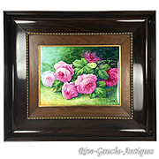 """Masterpiece Large Limoges France Stunning hand-painted rose framed plaque/ painting on porcelain, artist signed """"A. Marty"""", 1920s"""