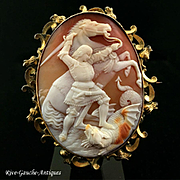 """Rarest huge Museum quality high-relief caved cameo brooch/ Pendant of """"St. George and Dragon"""""""