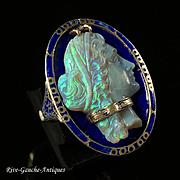 Rare large 14k gold opal cameo blue enamel ring