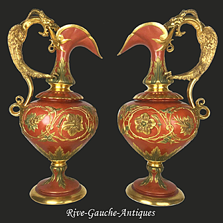 "Spectacular 21.5"" tall pair of French porcelain vases/ ewers with the golden dragon handle, ca 19th century"