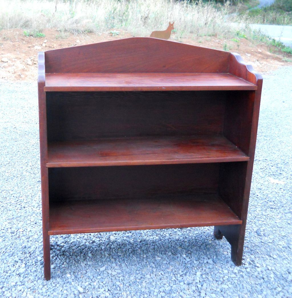 Early 1900s Solid Flame Crotch Mahogany Bucket Bench Bookcase Shelves From Sirgunnisonsfarm On