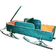 Early 1900s Country Pine Childrens Sleigh Wagon Bob Sled Garden Planter Flower Cart Porch Display