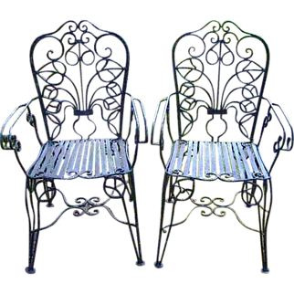 Ornate Wrought Iron French Country Garden Chairs