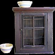 19th Century Wainscot Beadboard Fir Pine Pie Safe Screen Rustic Cupboard