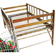 19th Century Farmhouse Garden Flower Cart Display Primitive Industrial Folding Wood Wire Childrens Youth Bed Crib