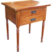 19th Century Pre Civil War Era Country Table Antique 1830s -1860s Solid Cherry Stand Marquetry Sheraton Work 2 Drawer Victorian Iron Dog Bin Pull