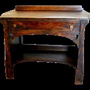 Antique Craftsman Mission 1890's Arts and Crafts Bungalow Quartersawn Oak Sideboard Desk Spade Cutouts