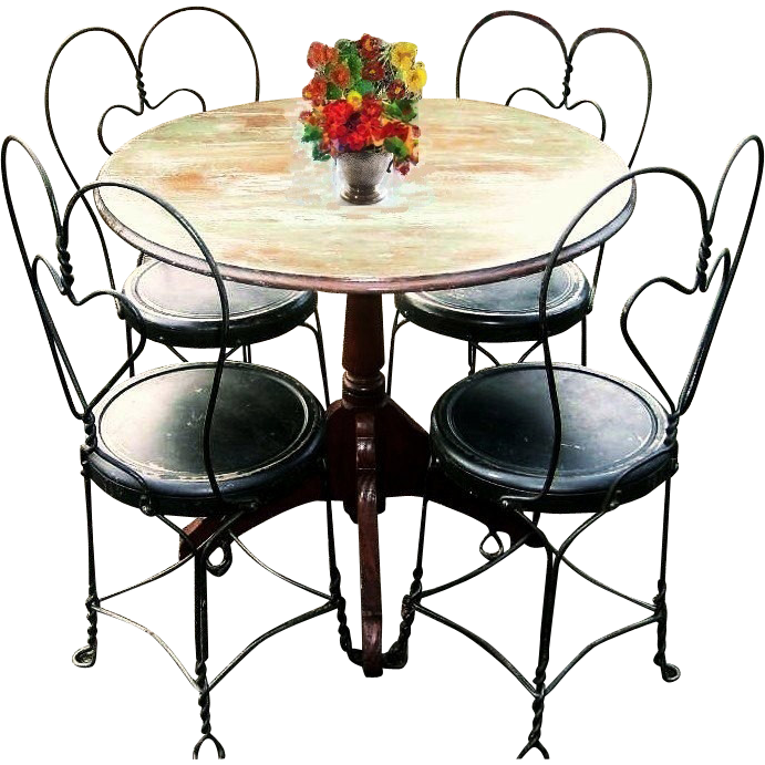 Vintage Early 1900s Bistro Set French Country Cafe  : HM 1271L from rubylane.com size 691 x 691 png 484kB