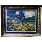 19th Century Yellow Wildflowers Trees Lake Vintage1890s Impressionist Landscape California Plein Air Oil on Canvas Painting