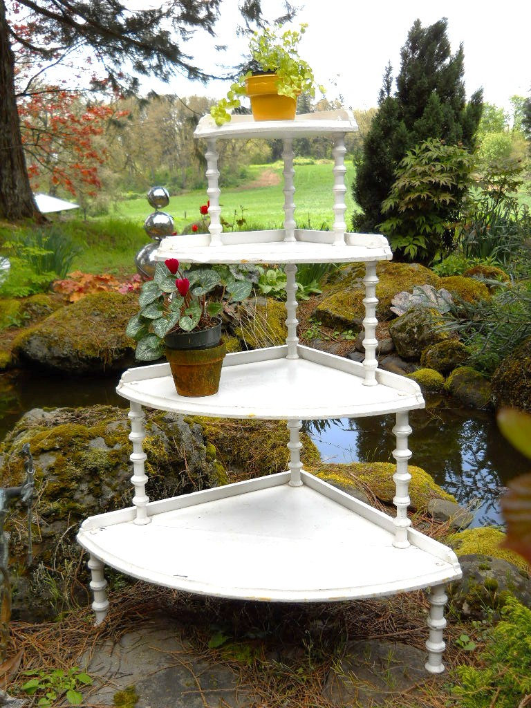vintage garden porch plant flower stand etagere demilune step shelves from sirgunnisonsfarm on. Black Bedroom Furniture Sets. Home Design Ideas