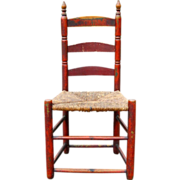 Antique Rare Shaker New England Early American 18th Century 1700's Ladderback Chair