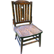 Antique Arts & Crafts Quartersawn Fumed Oak Mission Youth Childrens Chair Signed Heywood Wakefield