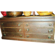 Antique 1880s Primitive Cubbyhole General Store Huge Counter Desk Rustic Vintage Spool Cabinet Cash Register Solid Oak 6 Drawer Desk Top Map Chest Cabinet
