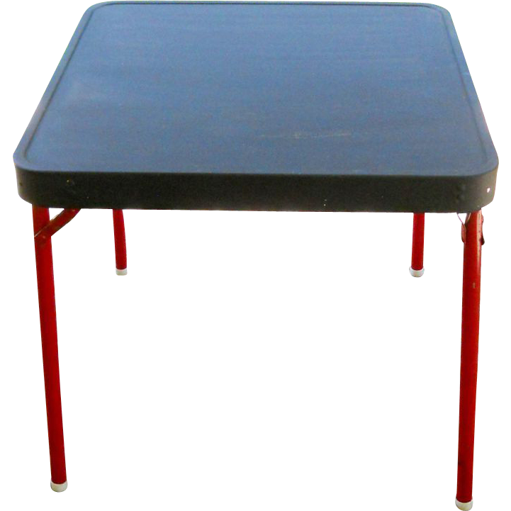 Vintage Childrens 1950s Small Metal Folding Collapsible Craft Card Childs Game  Table Red Side Lamp Tea End Table