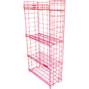 Vintage 1970s Rare Industrial Tom's Red Candy Display Mid Century Modern General Store Folding Metal Wire Rack Cottage Rack Shelves Stand