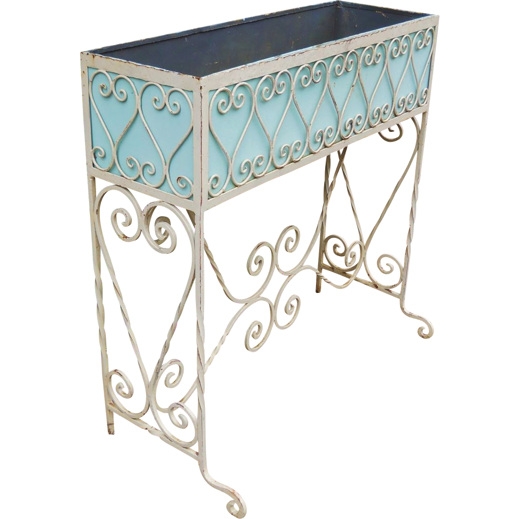 Antique 19th Century Southern French Country Fern Stand Victorian Arts & Crafts Porch Hammered Ornate Wrought Iron Garden Planter