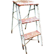 Vintage Mid Century Industrial Rustic Wood Primitive Farmhouse Folding Collapsible Step Ladder Country Architectural Salvage